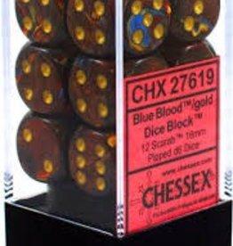 CHESSEX CHX 27619 16MM D6 DICE BLOCK SCARAB BLUE BLOOD