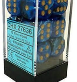 CHESSEX CHX 27636 16MM D6 DICE BLOCK VORTEX BLUE W/GOLD