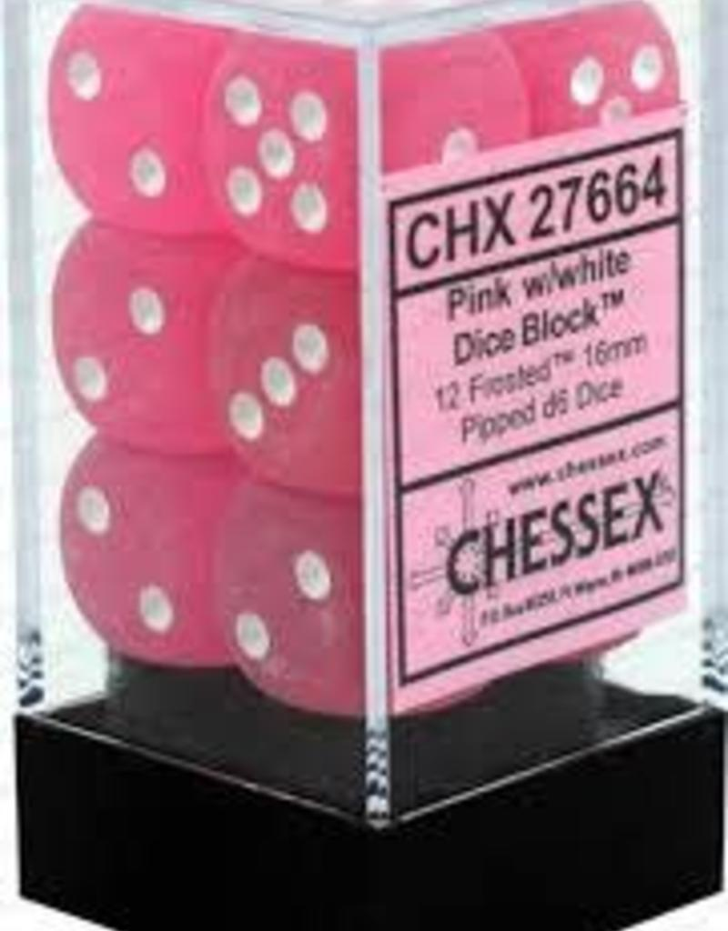 CHX 27664 16MM D6 DICE BLOCK FROSTED PINK WITH WHITE