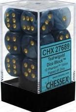 CHESSEX CHX 27689 16MM D6 DICE BLOCK PHANTOM TEAL W/GOLD