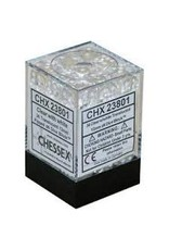 CHESSEX CHX 23801 12MM D6 DICE BLOCK TRANSLUSCENT CLEAR W/WHITE