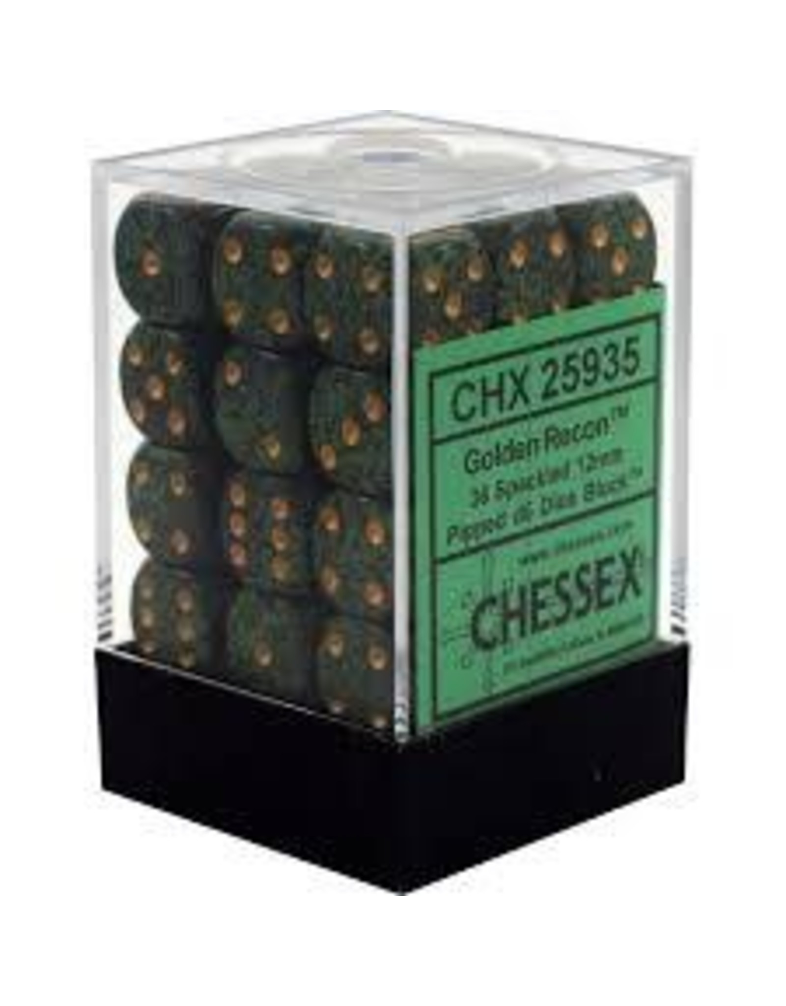 CHESSEX CHX 25935 12MM D6 DICE BLOCK SPECKLED GOLDEN RECON