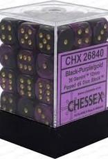 CHESSEX CHX 26840 12MM D6 DICE BLOCK GEMINI BLACK PURPLE W/GOLD