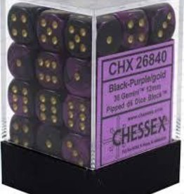 CHESSEX CHX 26840 12MM D6 DICE BLOCK GEMINI BLACK PURPLE W/GOLD