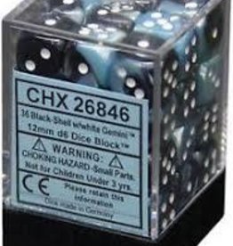 CHESSEX CHX 26846 12MM D6 DICE BLOCK GEMINI BLACK W/ WHITE