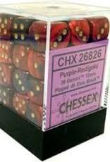 CHESSEX CHX 26826 12MM D6 DICE BLOCK GEMINI PURPLE RED W/ GOLD