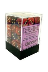 CHESSEX CHX 26826 12MM D6 DICE BLOCK GEMINI PURPLE RED W/ GOLD