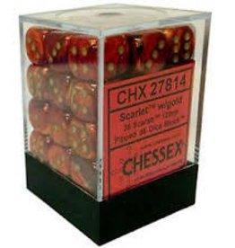 CHESSEX CHX 27814 12MM D6 DICE BLOCK SCARLET W/ GOLD SCARAB