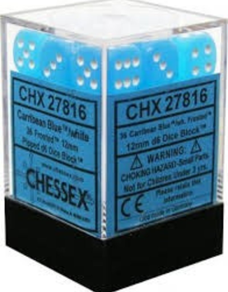 CHX 27816 12MM D6 DICE BLOCK CARIBBEAN BLUE W/ FROSTED