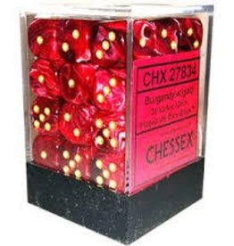 CHESSEX CHX 27834 12MM D6 DICE BLOCK VORTEX BURGUNDY W/GOLD
