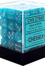 CHESSEX CHX 27865 12MM D6 DICE BLOCK CIRRUS AQUA W/SILVER