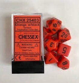 CHESSEX CHX 25403 7 PC POLY DICE SET ORANGE W/ BLACK
