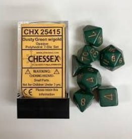 CHESSEX CHX 25415 7 PC POLY DICE SET OPAQUE DUSTY GREEN W/ GOLD