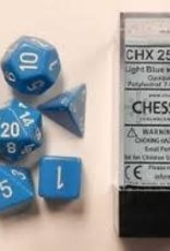 CHESSEX CHX 25416 7 PC POLY DICE SET LIGHT BLUE W/ WHITE