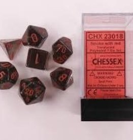 CHESSEX CHX 23018 7 PC POLY DICE SET TRANSLUCENT SMOKE W/RED