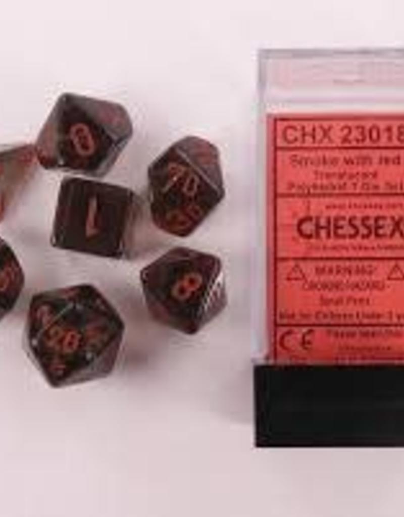 CHESSEX CHX 23018 7 PC POLY DICE SET TRANSLUCENT SMOKE W/RED
