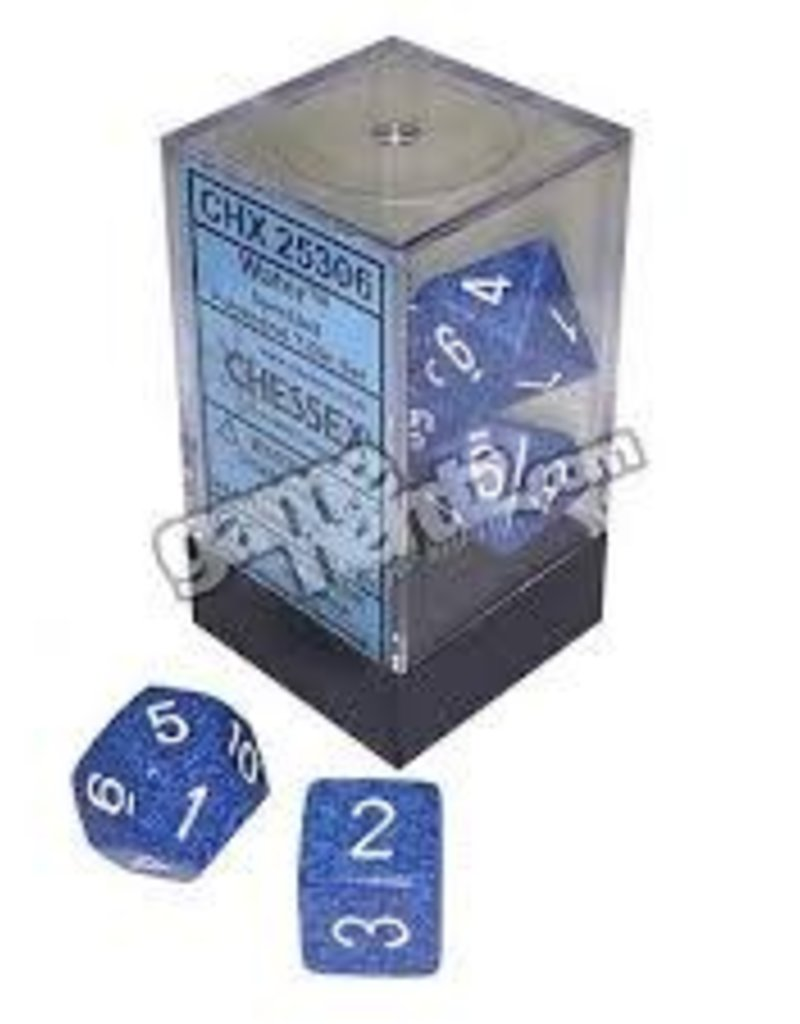 CHESSEX CHX 25306 7 PC POLY DICE SET CUBE SPECKLED WATER