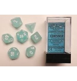 CHESSEX CHX 27405 7 PC POLY DICE SET FROSTED TEAL W/WHITE