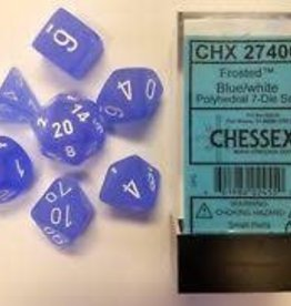 CHESSEX CHX 27406 7 PC POLY DICE SET FROSTED BLUE W/WHITE