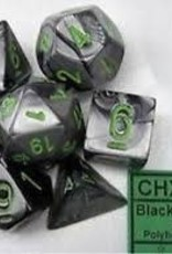 CHESSEX CHX 26445 7 PC POLY DICE SET GEMINI BLACK GREY W/ GREEN