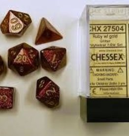 CHESSEX CHX 27504 7 PC POLY DICE SET GLITTER RUBY W/GOLD
