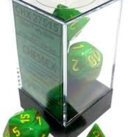 CHESSEX CHX 27515 7 PC POLY DICE SET VORTEX SLIME W/YELLOW