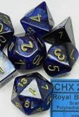 CHESSEX CHX 27427 7 PC POLY DICE SET SCARAB ROYAL BLUE W/GOLD