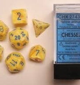 CHESSEX CHX 27432 7 PC POLY DICE SET VORTEX YELLOW W/BLUE