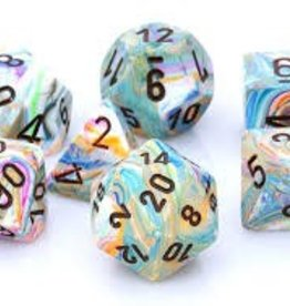 CHESSEX CHX 27441 7 PC POLY DICE SET FESTIVE VIBRANT W/BROWN
