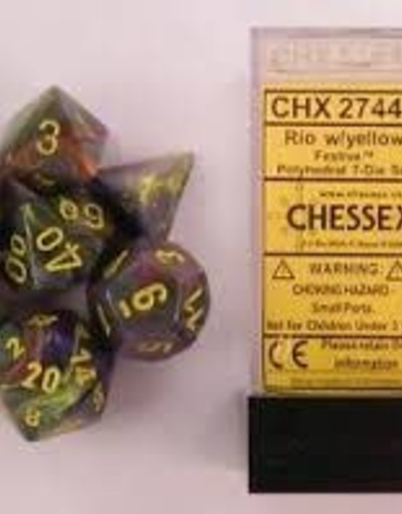 CHESSEX CHX 27449 7 PC POLY DICE SET FESTIVE RIO W/YELLOW