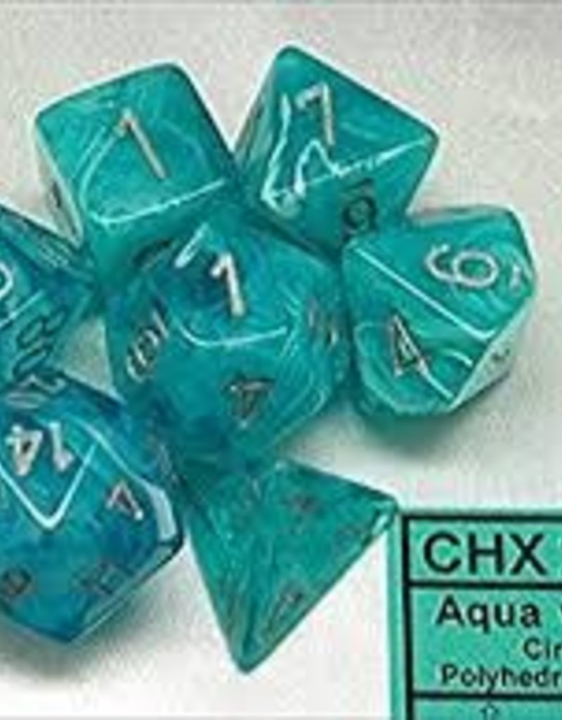 CHESSEX CHX 27465 7 PC POLY DICE SET CIRRUS AQUA W/SILVER