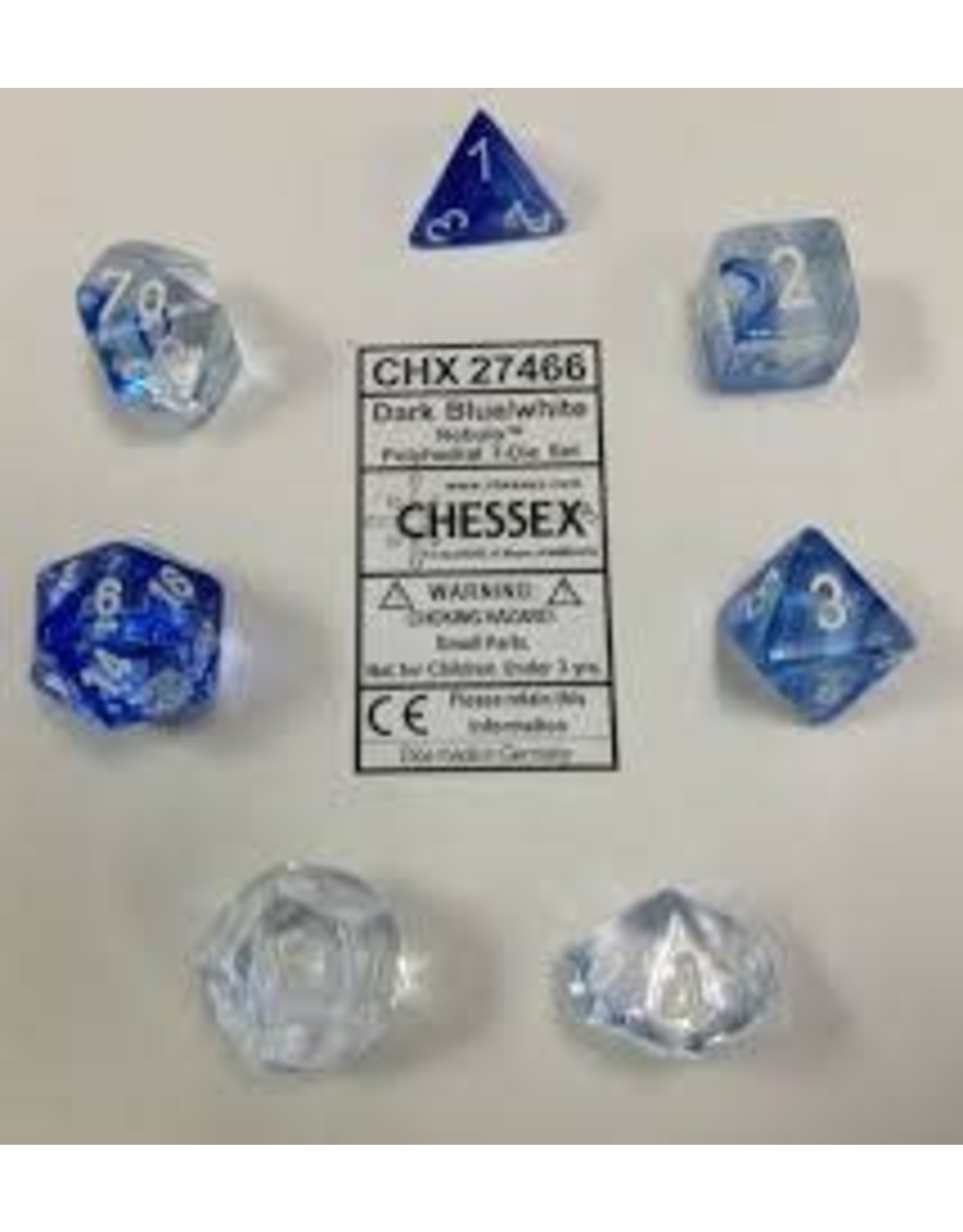 CHESSEX CHX 27466 7 PC POLY DICE SET NEBULA DARK BLUE W/ WHITE