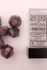 CHESSEX CHX 27478 7 PC POLY DICE SET VELVET BLACK W/ RED