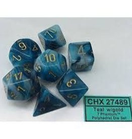 CHESSEX CHX 27489 7 PC POLY DICE SET PHANTOM TEAL W/ GOLD