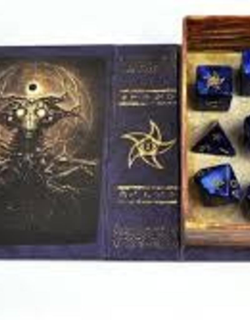 ELDER DICE 9 CT POLYHEDRAL DICE - ASTRAL ELDER SIGN  BLUE