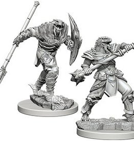 WIZKIDS D&D NOLZUR'S MARVELOUS UNPAINTED MINIS  DRAGONBORN MALE FIGHTER W/ SPEAR