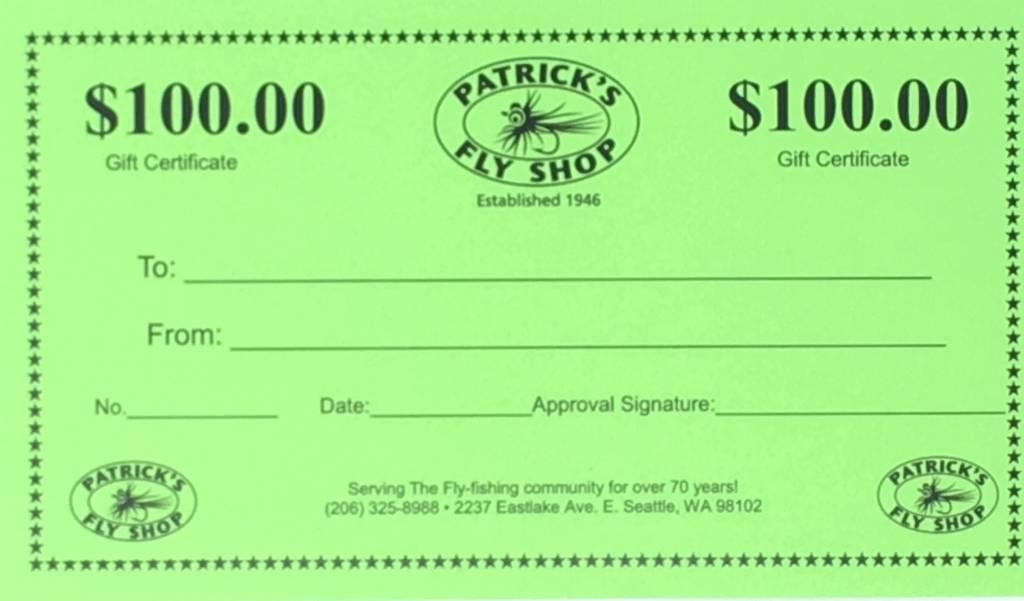 Patrick's Gift Certificate - $100.00
