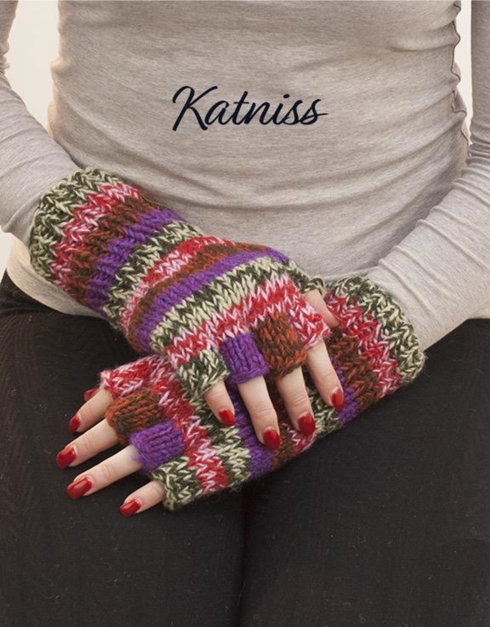 The Sweater Venture Snowfox Fingerless Gloves