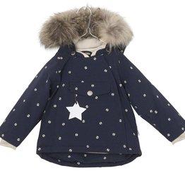 Wang winter jacket with fur, ladybugs print