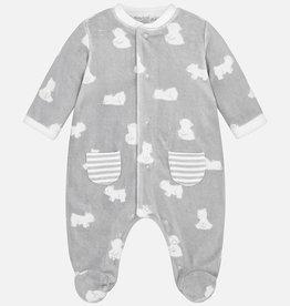Pyjama en velours pour bébés, imprimé ours