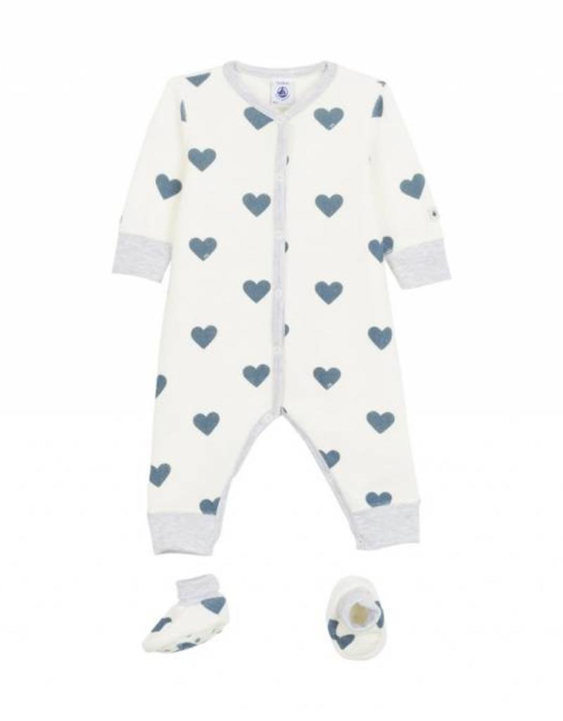 Ensemble pyjama et chaussons, imprimé coeurs