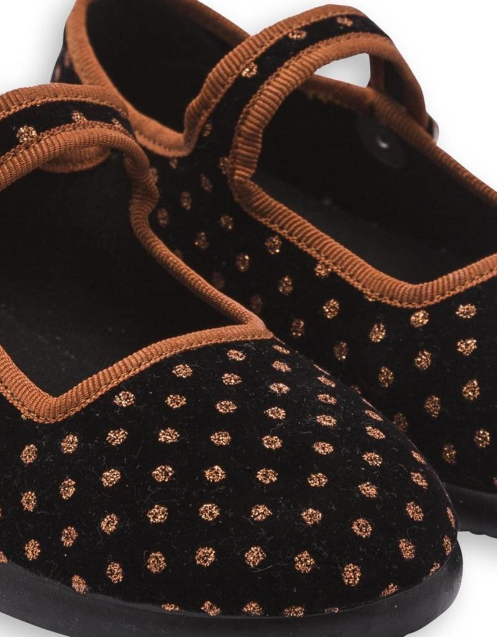 Bonton Kid's Jane sling shoes, polka dots print