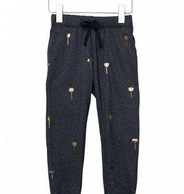 Pants, foil lotus print