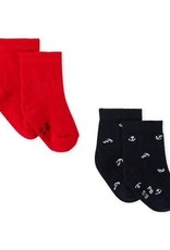 Set of 2 pairs of Mamoudou baby socks, red and Navy blue