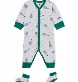 Pajamas and slippers, tennis rackets print