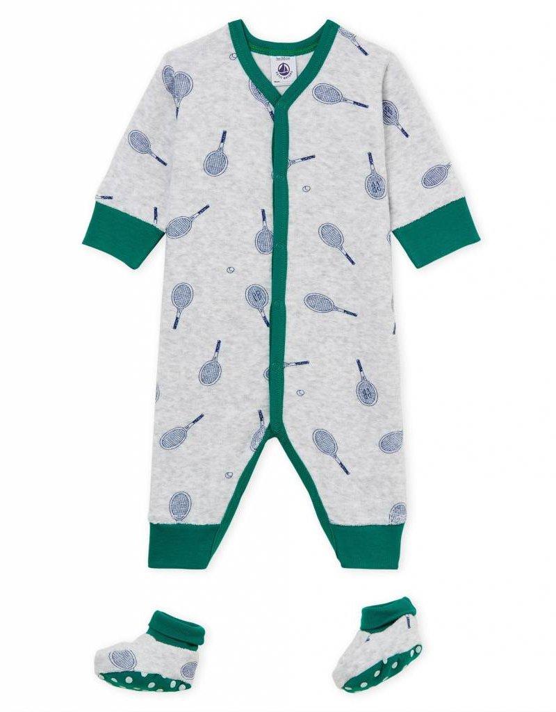 Pyjama et chaussons, imprimé raquettes de tennis