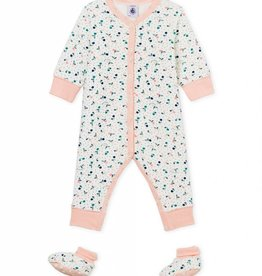 Pajamas and slippers, fruit print