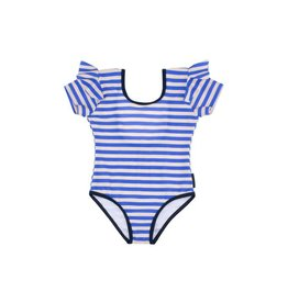 Stripes frills swimsuit