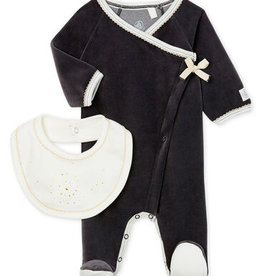 Babies' Velour Sleepsuit and Bib Set