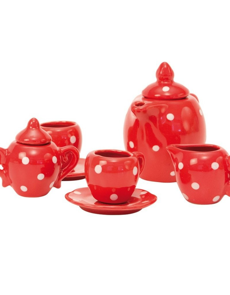 Tea set in spotted case